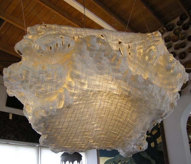 Gigantic ceiling light made of woven handmade paper. Wonderful free-form shape. Suspended from ceiling. Created by Japanese artist Yuri Kinoshita. Title: Izumo - Cloud. This one is a floor model and available off the floor (ceiling!) but can also be