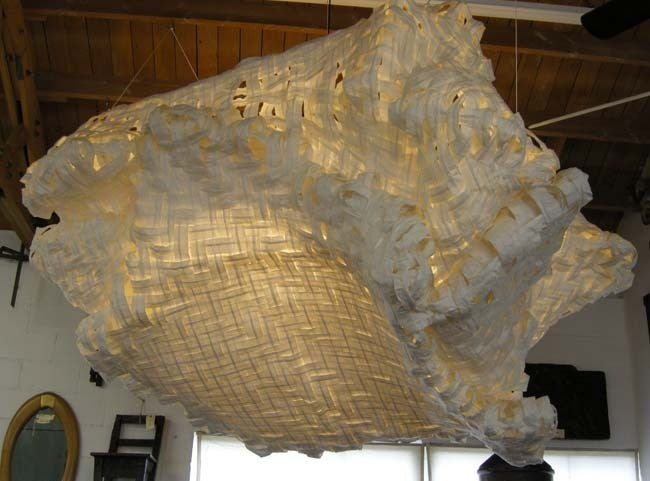 Organic Modern Gigantic Free-Form Handwoven Paper Ceiling Light For Sale