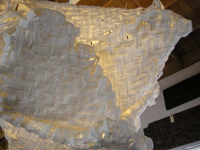 Gigantic Free-Form Handwoven Paper Ceiling Light For Sale 1