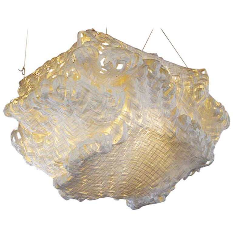 Gigantic Free-Form Handwoven Paper Ceiling Light For Sale