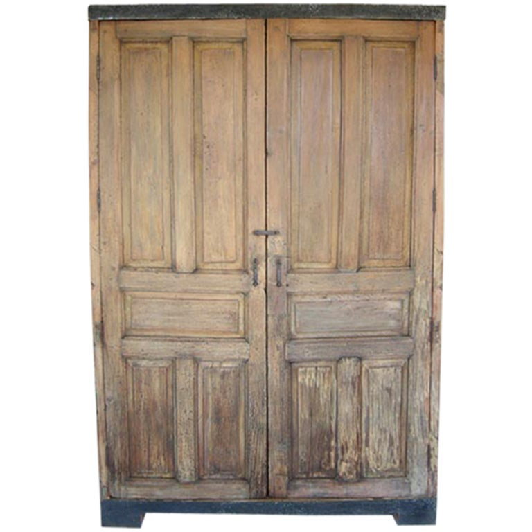 Antique Door Armoire/Wardrobe or Cabinet With Iron Banding For Sale - Antique Door Armoire/Wardrobe Or Cabinet With Iron Banding For Sale