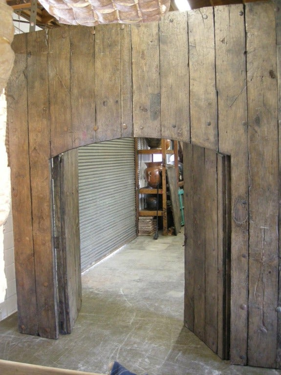 Pair Of Large Antique Doors With Smaller Doors Inside