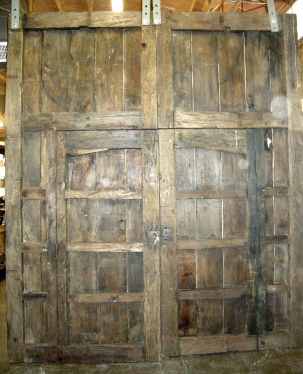 Pair of Large Antique Doors with Smaller Doors Inside.. 4