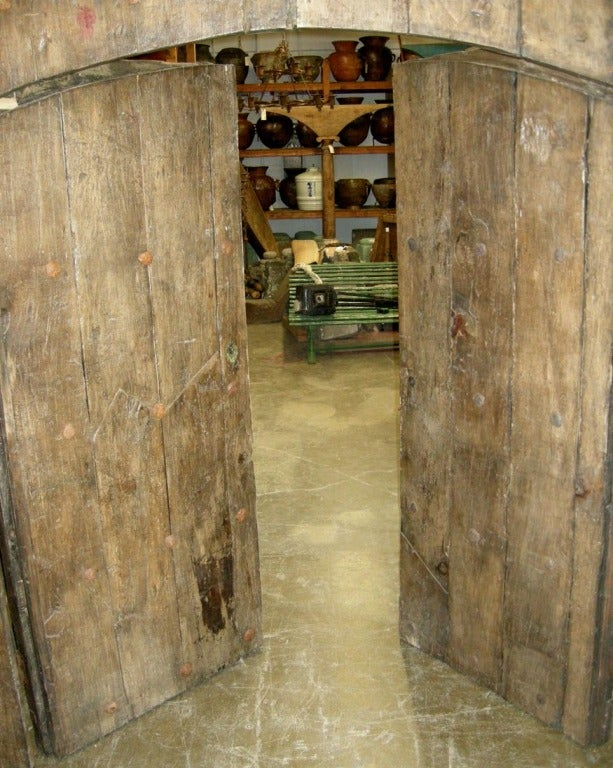 Pair of Large Antique Doors with Smaller Doors Inside.. 5