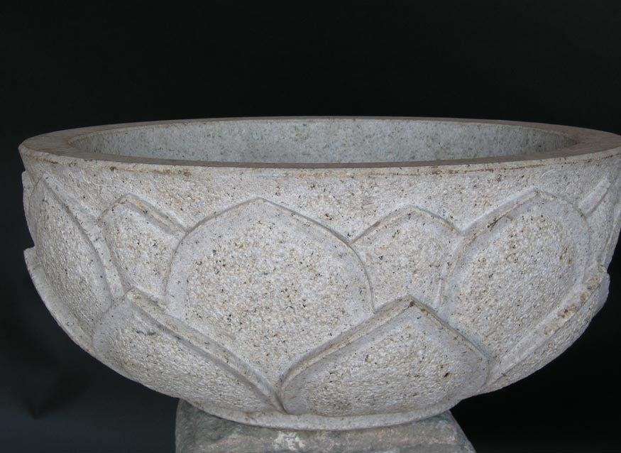 Carved Lotus Stone Bowl In Good Condition For Sale In Los Angeles, CA