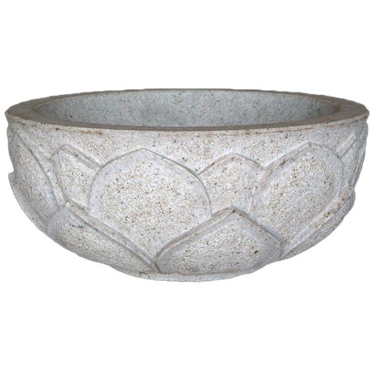 Carved Lotus Stone Bowl For Sale