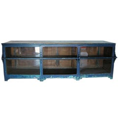 Antique Painted Blue Shop Counter With Glass Front For Merchandise Display