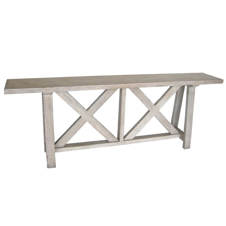 Custom Oakwood Double X Console Table In Drift Wood Finish By Dos Gallos  Studio For Sale