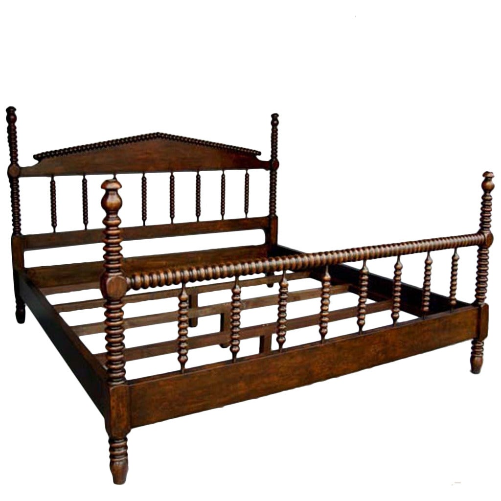 Custom Walnut Wood Bobbin Bed With Turned Spindle Head And Foot Boards 1