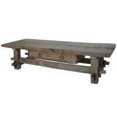 Antique Tavern Coffee Table With Drawer