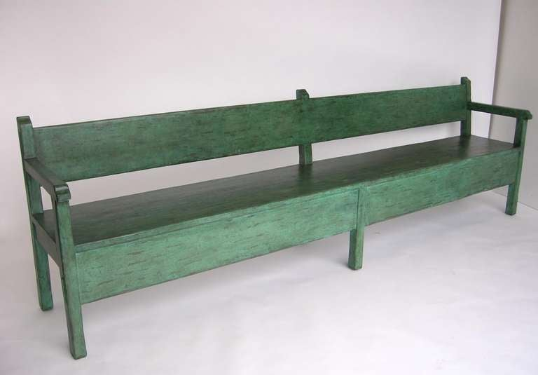 Custom handcrafted Colonial style bench in green painted finish. Can be made in custom sizes and finishes. Made by Dos Gallos Studio in Los Angeles.