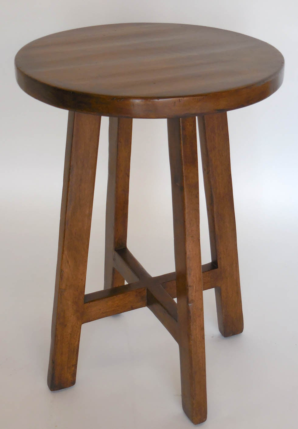 Dos Gallos Custom Round Walnut Wood Side or End Table 3