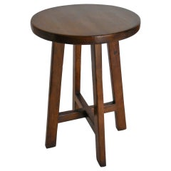 Dos Gallos Custom Round Walnut Wood Side or End Table