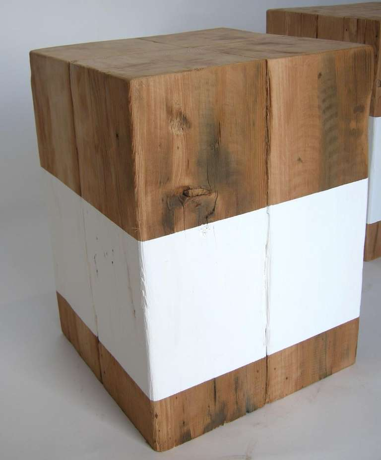 Reclaimed White Stripe Cube Table At 1stdibs