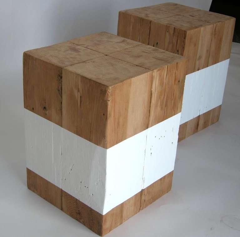 Reclaimed White Stripe Cube Table At 1stdibs