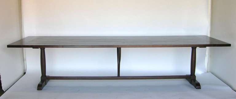 American Classical Custom Walnut Wood Table with Wishbone Stretcher by Dos Gallos Studio For Sale