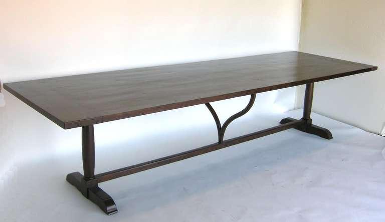 American Custom Walnut Wood Table with Wishbone Stretcher by Dos Gallos Studio For Sale