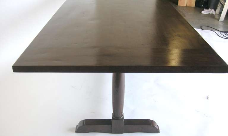 Contemporary Custom Walnut Wood Table with Wishbone Stretcher by Dos Gallos Studio For Sale