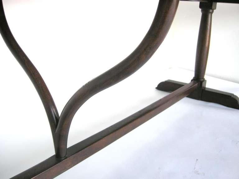 Custom Walnut Wood Table with Wishbone Stretcher by Dos Gallos Studio For Sale 1