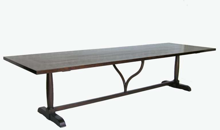 Custom walnut wine tasting table with narrow profile wishbone trestle base. Beautiful patina, breadboards on each end. Delicate and beautiful. As show in medium-dark walnut. THIS PARTICULAR TABLE IS AVAILABLE OFF THE FLOOR. Otherwise it can be made