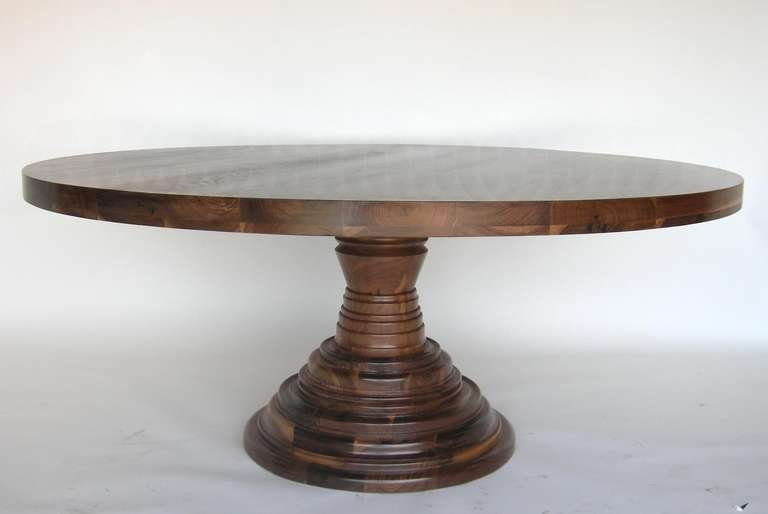 custom round dining center pedestal table in walnut wood for sale at