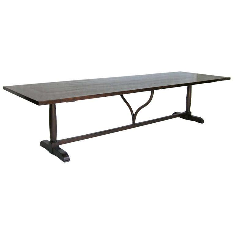 Custom Walnut Wood Table with Wishbone Stretcher by Dos Gallos Studio For Sale