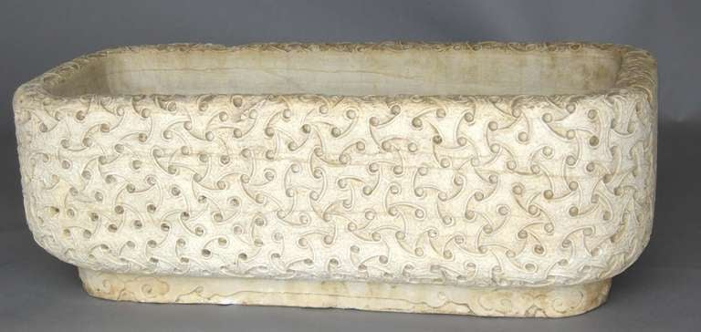 Chinese Carved Marble Planter For Sale