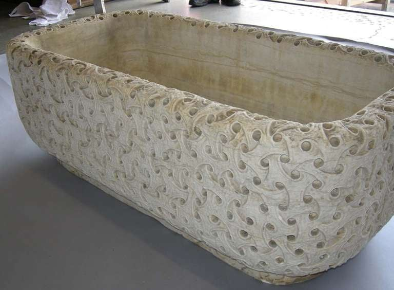 Carved Marble Planter For Sale 1