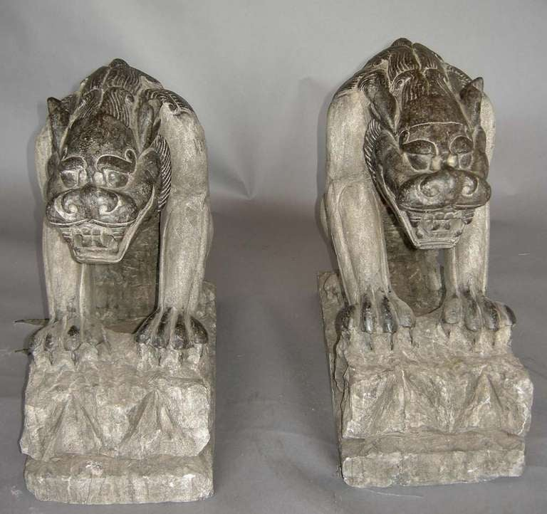 Pair of japanese carved stone gargoyles for sale at stdibs