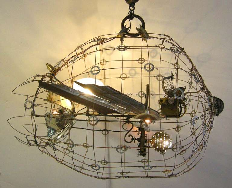 Kenmark 1 airship chandelier at 1stdibs wonderful whimsical chandelier created by seattle based artist matthew culbert consists of recycled steel mozeypictures Choice Image