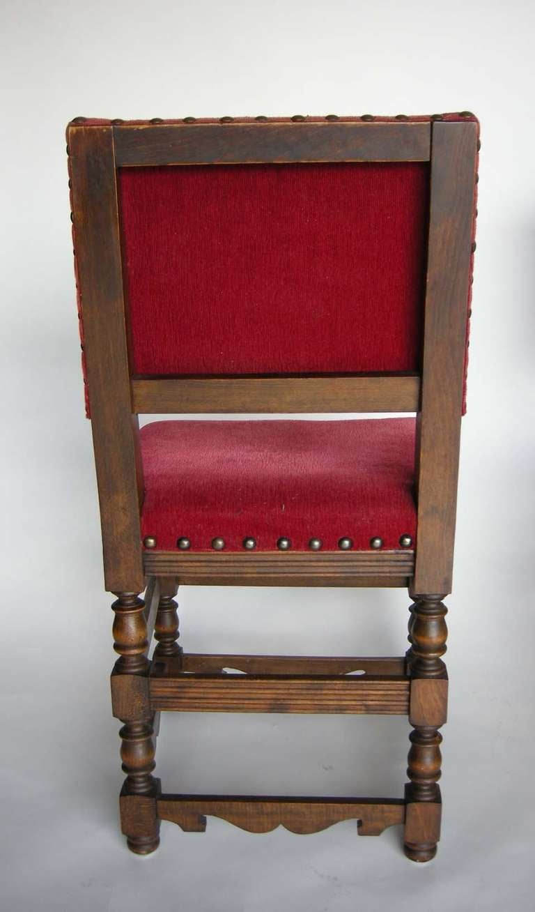 Oak Four Spanish Chairs For Sale