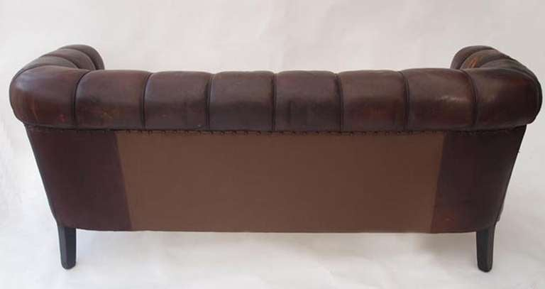 19th Century Antique Swedish Leather Chesterfield Sofa For Sale