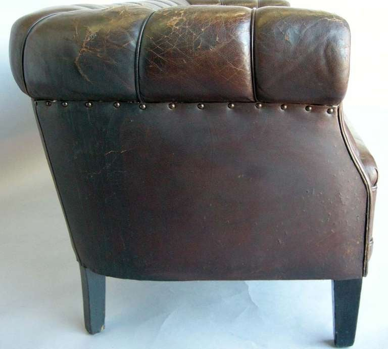 Antique Swedish Leather Chesterfield Sofa For Sale 2