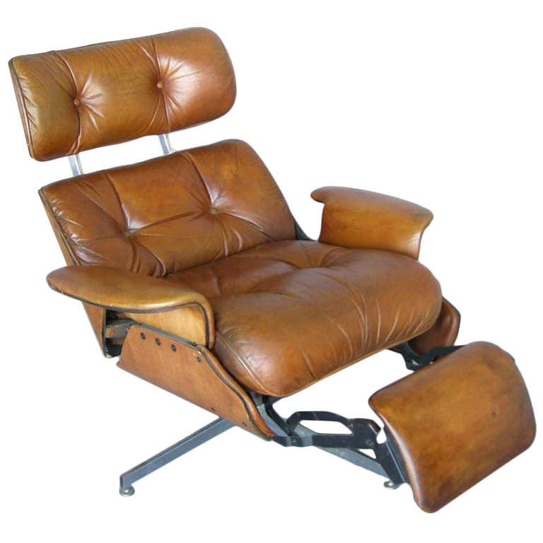 Mid Century Leather Recliner At 1stdibs
