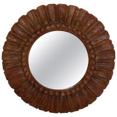 Hand Carved Round Mirror