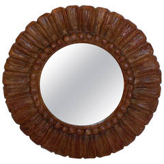Hand Carved Round Mirror