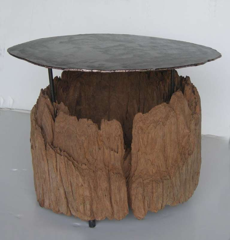 Bronze iron and wood side table at 1stdibs for Iron and wood side table