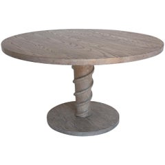 Dos Gallos Custom Corkscrew Round Pedestal Dining or Centre Table in Oak Wood