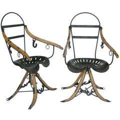 Belgian tractor Seat Folk Art Chairs