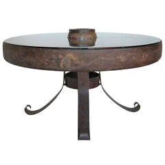 Antique Iron Wheel and Glass Table