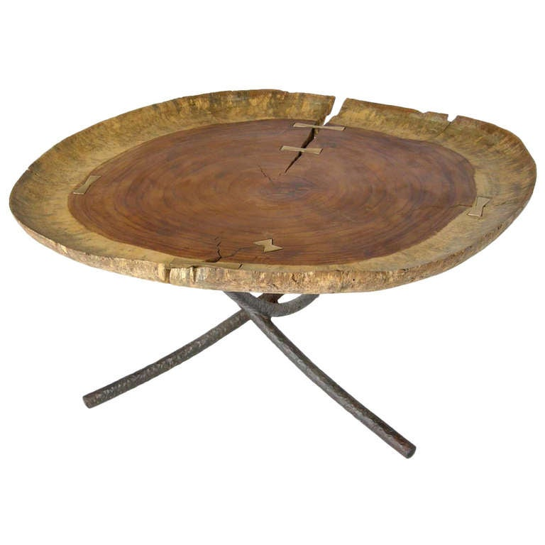 Wood and bronze coffee table at 1stdibs Bronze coffee tables