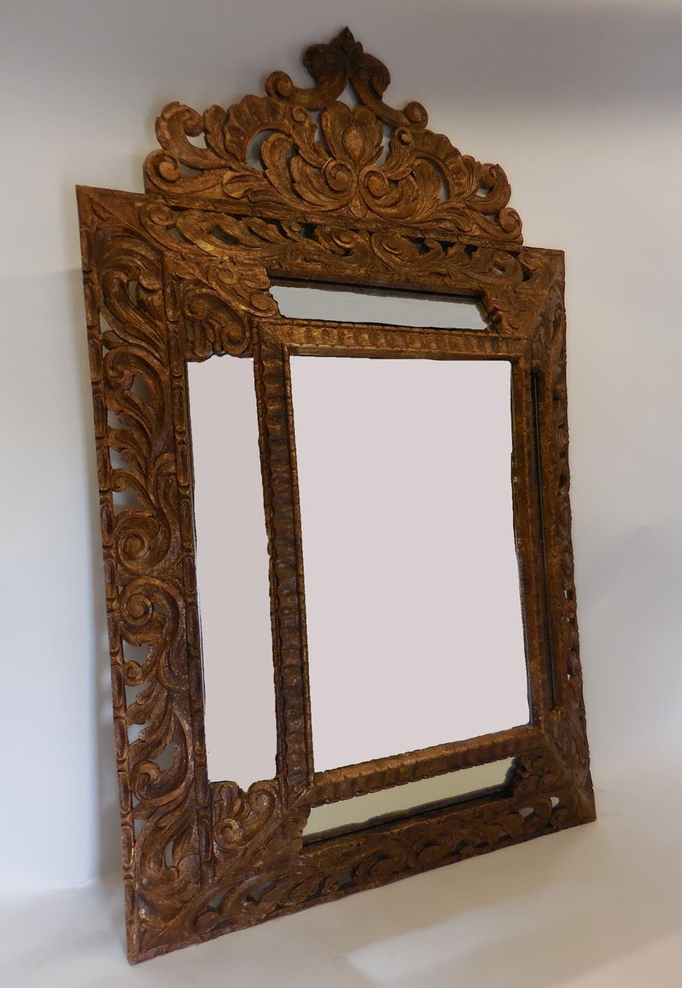 Large scale hand carved mirror at 1stdibs for Fireplace mirrors