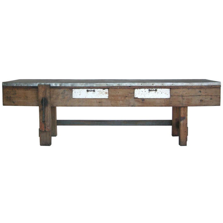 Zinc top work table at 1stdibs for Furniture work table