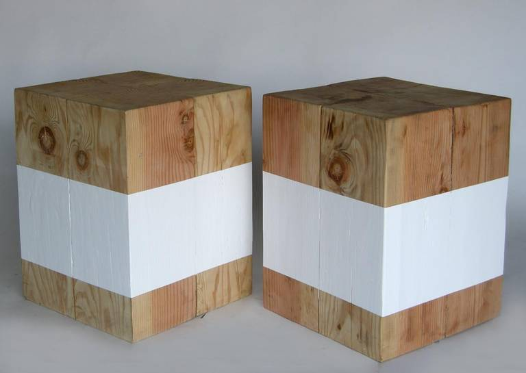 Reclaimed Wood Cube Stools or Tables 2 - Reclaimed Wood Cube Stools Or Tables At 1stdibs