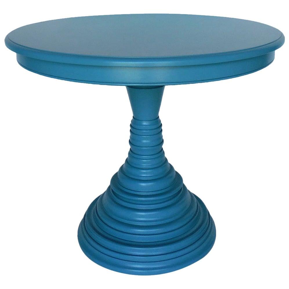 Dos Gallos Custom Walnut Wood Round Beehive Base Pedestal Table