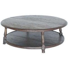Custom Round Walnut Wood Coffee Table with Shelf by Dos Gallos Studio