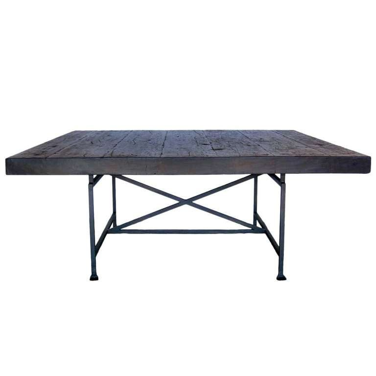 Custom Industrial Style Reclaimed Wood Square Dining Table With Iron Base For