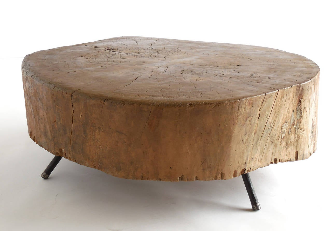 Primitive 19th century modern butcher block coffee table with primitive 19th century modern butcher block coffee table with custom iron legs 2 geotapseo Image collections