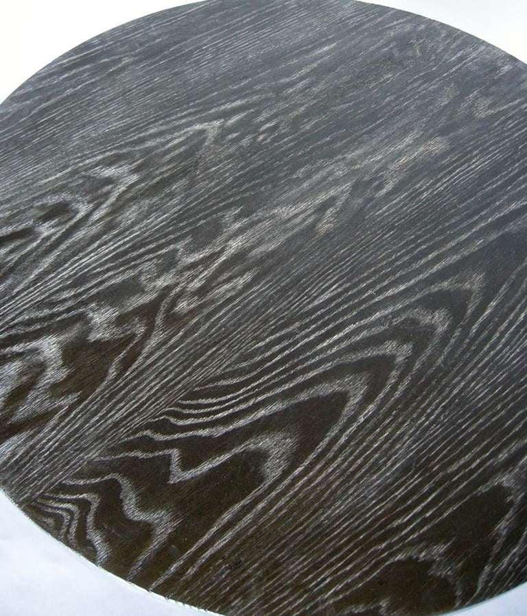 International Style Ultimate Screw, Custom Oak Wood Round Screw Pedestal Table by Dos Gallos Studio For Sale