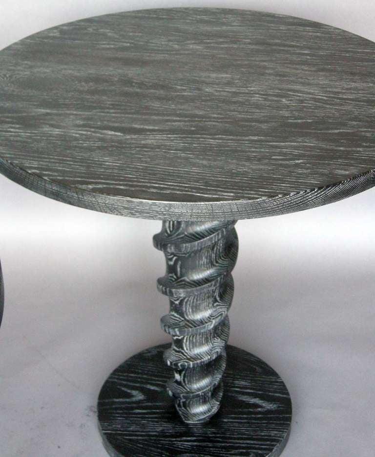 Ultimate Screw, Custom Oak Wood Round Screw Pedestal Table by Dos Gallos Studio For Sale 1